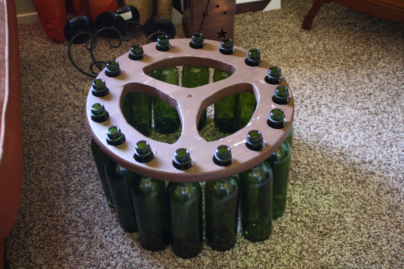 The Medallion And Then Attach Wiring Following Instructions On Light Kit In Your Bulb Tada Very Own Wine Bottle Chandelier